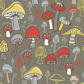 Toadstools Mushrooms Gray