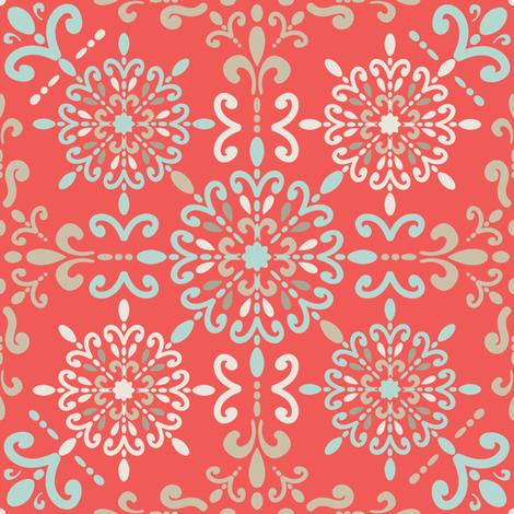 Moroccan Hanky in Coral fabric by teresamagnuson on Spoonflower - custom fabric