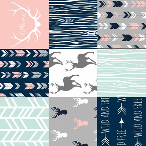 Patchwork Deer - Navy, Coral And Mint - Rotated