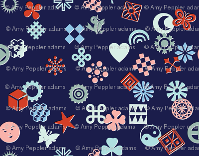 Match Game* (Cool Mix on Jackie Blue)    typography ornaments symbols pictographs toss starburst geometric star butterfly bird sun shamrock flower heart scatter
