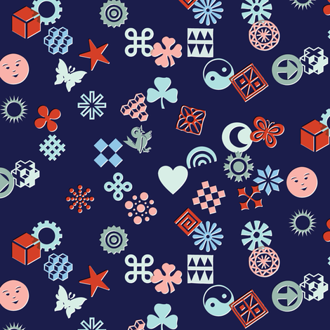 Match Game* (Cool Mix on Jackie Blue)    typography ornaments symbols pictographs toss starburst geometric star butterfly bird sun shamrock flower heart scatter fabric by pennycandy on Spoonflower - custom fabric