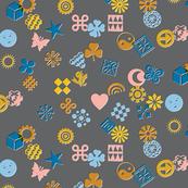 Match Game* (Warm Mix on Pepper Pot) || typography ornaments symbols pictographs toss starburst geometric star butterfly bird sun shamrock flower heart scatter