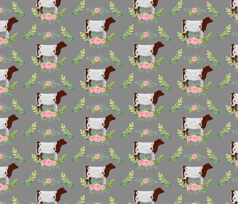 Showstock & Roses - Shorthorn Steers  *NEW SMALLER REPEAT fabric by thecraftyblackbird on Spoonflower - custom fabric