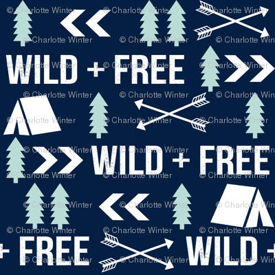 wild and free // outdoors camping print tiny fabric print camping trees arrows fabric