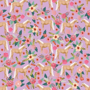 Horse florals fabric - palomino horse fabric cute horse florals fabric design