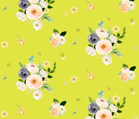 "10.5"" BLUSH LOVE / BRIGHT YELLOW fabric by shopcabin on Spoonflower - custom fabric"