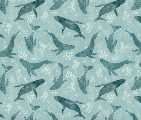 Majestic Humpback Whales fabric by melarmstrongdesign on Spoonflower - custom fabric