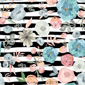 """10.5"""" SOFT BREEZE FLOWERS / BLACK AND WHITE STRIPES"""