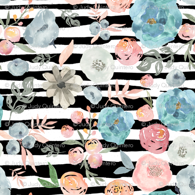 """8"""" SOFT BREEZE FLOWERS / BLACK AND WHITE STRIPES"""