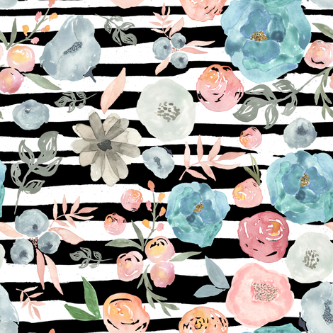 """8"""" SOFT BREEZE FLOWERS / BLACK AND WHITE STRIPES fabric by shopcabin on Spoonflower - custom fabric"""