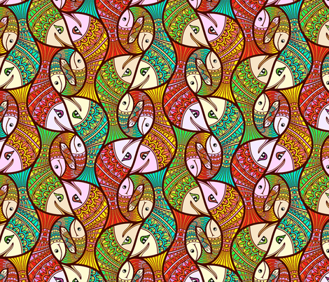 Happy_Fishies fabric by lilichi on Spoonflower - custom fabric
