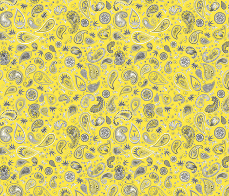 420 Hiphop Paisley Yellow fabric by camomoto on Spoonflower - custom fabric