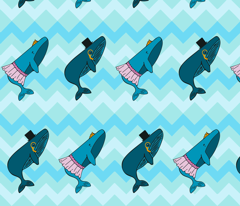 Fancy whales fabric by echoviktorsierra on Spoonflower - custom fabric