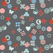 Match Game* (Cool Mix on Pepper Pot) || typography ornaments symbols pictographs toss starburst geometric star butterfly bird sun shamrock flower heart scatter