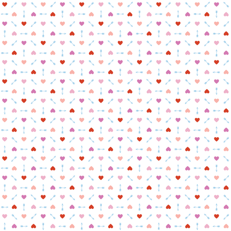 Cupid* (Pinks & Blue) || arrow arrows heart hearts valentine valentines day love pastel fabric by pennycandy on Spoonflower - custom fabric