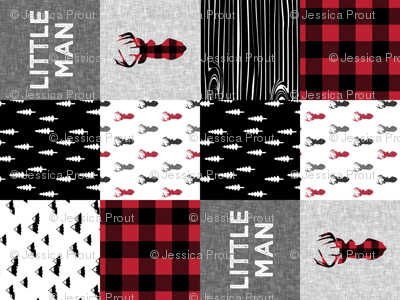 little man patchwork quilt top (90) || buck buffalo plaid