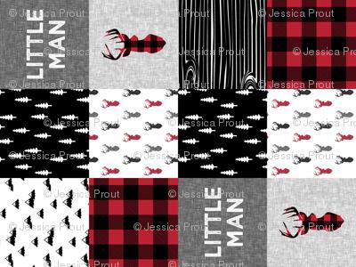 little man patchwork quilt top (90) || buck buffalo plaid