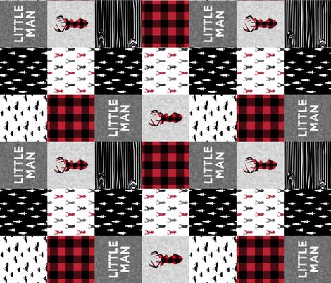 little man patchwork quilt top (90) || buck buffalo plaid fabric by littlearrowdesign on Spoonflower - custom fabric