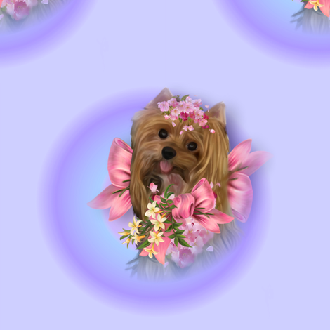 Lisa Yorkie and flowers fabric by barbyyy on Spoonflower - custom fabric