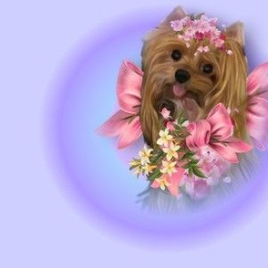Lisa Yorkie and flowers