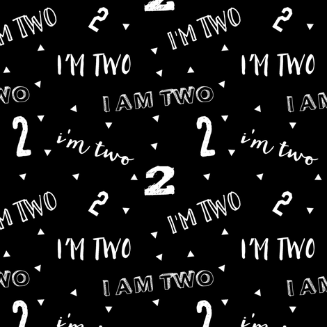 I'm two (black) || second birthday fabric fabric by littlearrowdesign on Spoonflower - custom fabric
