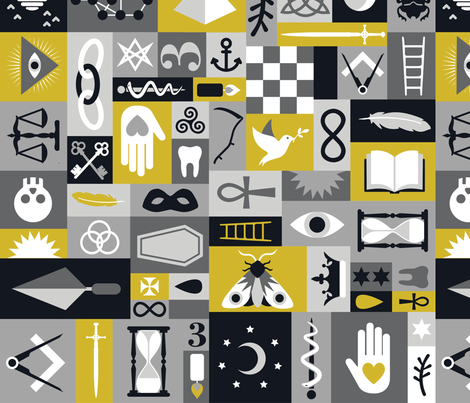 Esoteric Charms & Talismans in Midnight fabric by drawpilgrim on Spoonflower - custom fabric