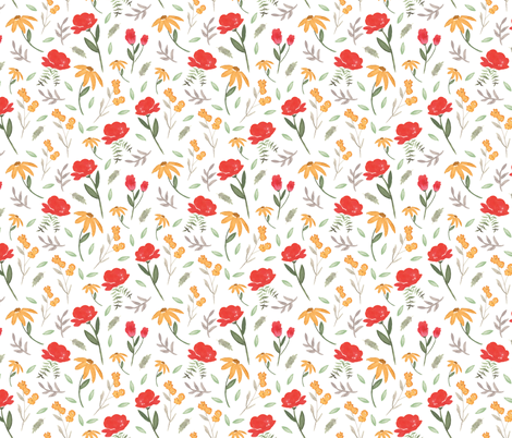 Sunshine Gardens | Watercolor Florals fabric by pacemadedesigns on Spoonflower - custom fabric