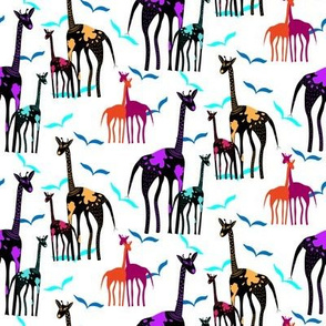 Giraffes and birds