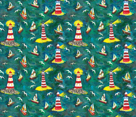 Lighthouses fabric by colour_angel_by_kv on Spoonflower - custom fabric