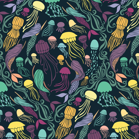 Mermaids and Jellyfish - Cassiopeia fabric by ceciliamok on Spoonflower - custom fabric