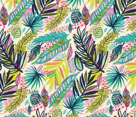 tribal jungle aloha fabric by laura_may_designs on Spoonflower - custom fabric