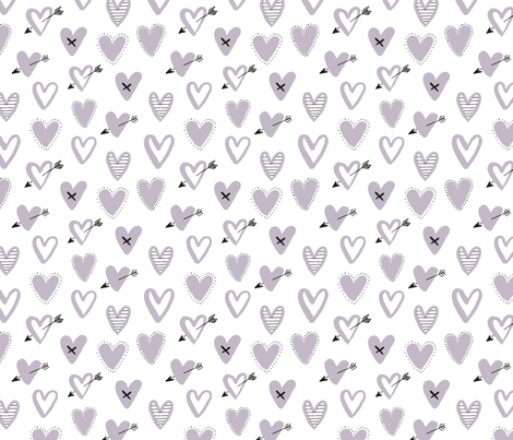 love hearts grey fabric by laura_may_designs on Spoonflower - custom fabric