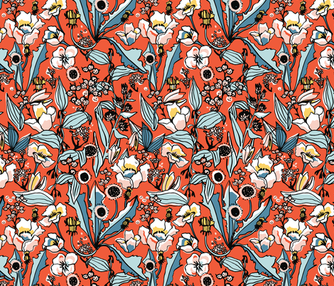 Spring floral in orange and blue fabric by lburleighdesigns on Spoonflower - custom fabric