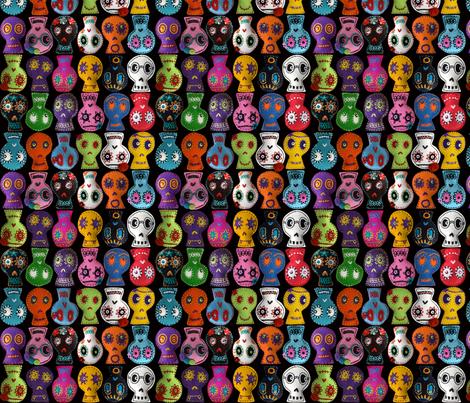 Folk Arty Sugar Skulls - on black - mini fabric by rawbonestudio on Spoonflower - custom fabric