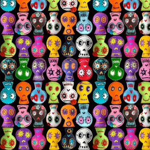 Folk Arty Sugar Skulls - on black - small
