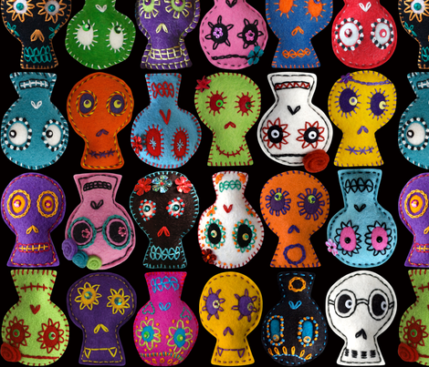 Folk Arty Sugar Skulls - black medium fabric by rawbonestudio on Spoonflower - custom fabric