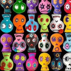 Folk Arty Sugar Skulls - on black - medium