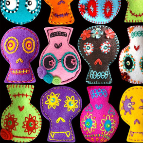 Folk Arty Sugar Skulls - on black - large