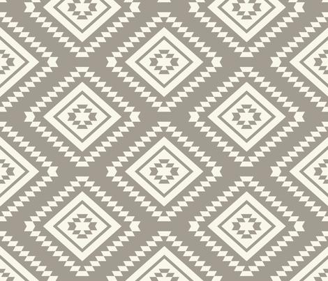 Aztec - Ivory, Mushroom fabric by fernlesliestudio on Spoonflower - custom fabric