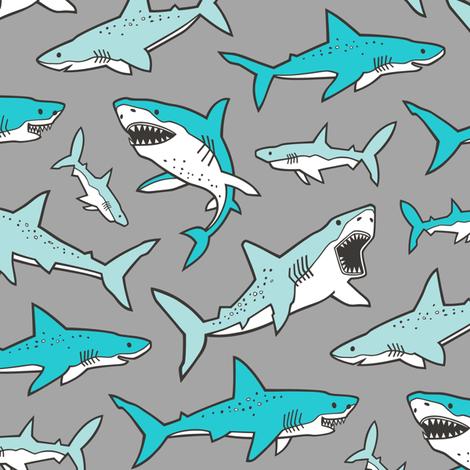 Sharks Shark Aqua Blue on Grey fabric by caja_design on Spoonflower - custom fabric