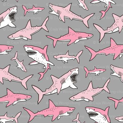 Sharks Shark Pink on Grey