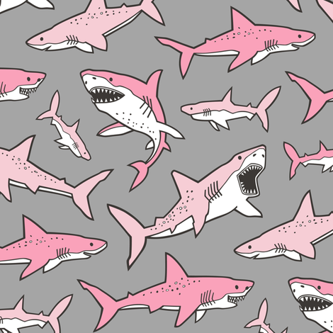 Sharks Shark Pink on Grey fabric by caja_design on Spoonflower - custom fabric