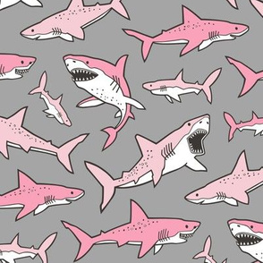 Sharks Shark Pink on Grey