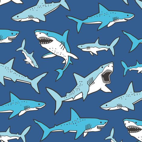 Sharks Shark Blue on Navy Blue fabric by caja_design on Spoonflower - custom fabric