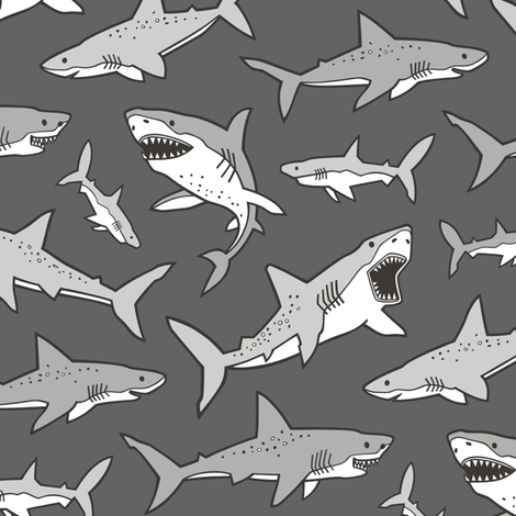 Sharks Shark Grey on Dark Grey fabric by caja_design on Spoonflower - custom fabric