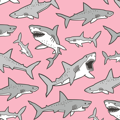Sharks Shark Grey on Pink fabric by caja_design on Spoonflower - custom fabric