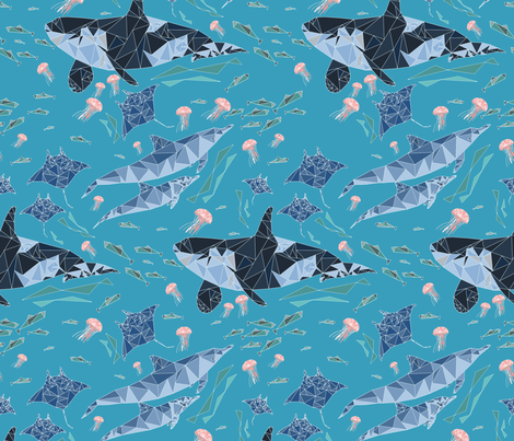 Geometric Ocean Animals fabric by thread_sa on Spoonflower - custom fabric