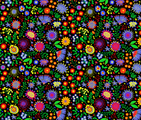 Swedish floral folk art fabric by hollywood_royalty on Spoonflower - custom fabric