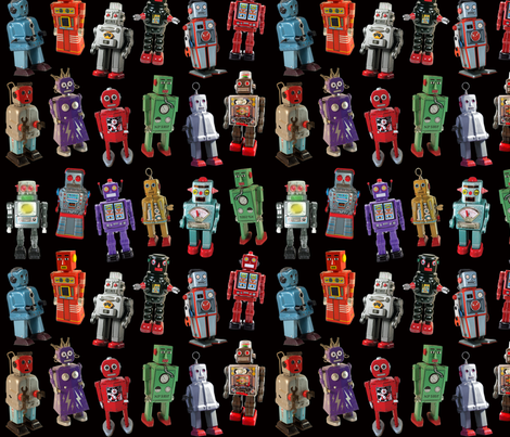 Vintage Toy Robots - small black fabric by rawbonestudio on Spoonflower - custom fabric