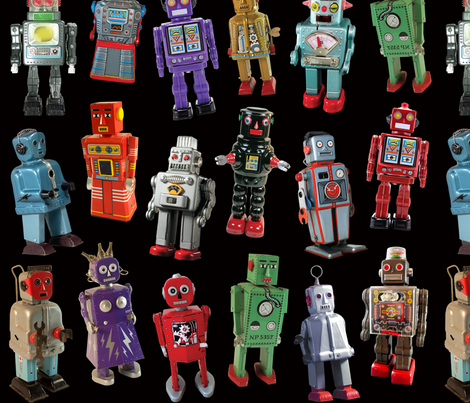 Vintage Toy Robots - medium black fabric by rawbonestudio on Spoonflower - custom fabric
